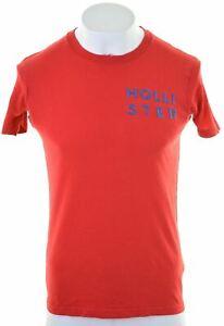 Hollister-Para-Hombre-Grafico-T-Shirt-Top-Algodon-Rojo-Pequeno-BE02