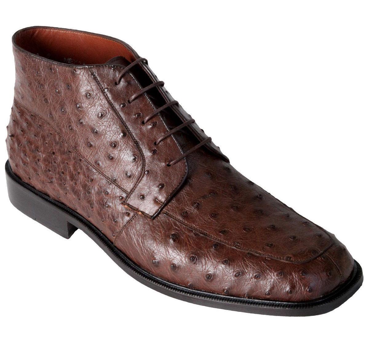 Los Altos Genuine marrón Ostrich Dress Ankle botas Leather Outsole High Top EE+