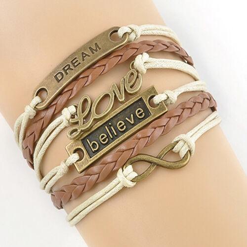 Vintage Infinity Pulsera Love Premium creo Sueño encanto Bronce Cuero Joyas