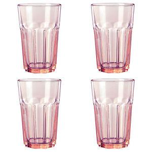 4 X nuevo Ikea Pokal Cristal Color Rosa De Vidrio Templado frío/Bebidas Calientes Para Microondas 35 CL
