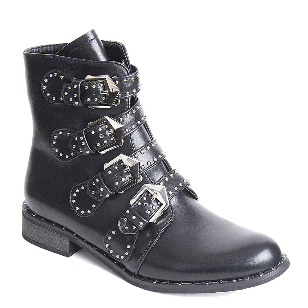 Womens Ladies Biker Boots Ankle Boots Boot Shoes Studded Festival Boots Ankle Side Zip Size 540bac