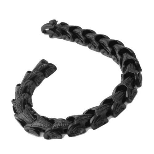 "Gothic Biker Stainless Steel Black Cuban Link Curb Chain Bracelet for Men 8.66/"""