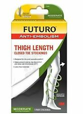 """Futuro Anti-Embolism Stockings, Thigh Length Closed Toe, White, Medium, Moderate (18 mm/Hg)"""