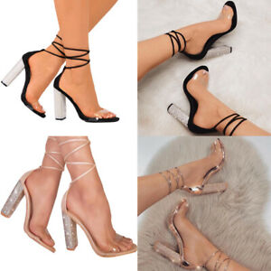 Summer-Womens-Ankle-Strap-Crystal-Block-High-Heels-Open-Toe-Sandals-Ladies-Pumps