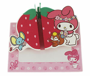 New sanrio my melody greeting card happy birthday big strawberry image is loading new sanrio my melody greeting card happy birthday m4hsunfo