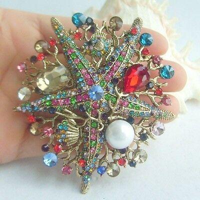 "Costume Jewelry Multicolor Rhinestone Crystal Starfish Brooch Pin 3.15"" 06412C5"