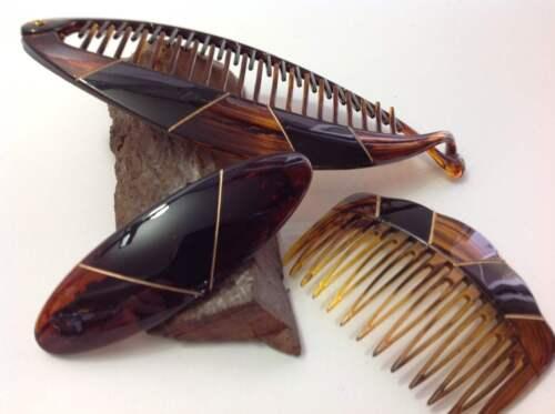 Einsteckkamm BRAUN-GOLD Haarspange Bananenspange Riesen-Krebsspange WÄHLBAR