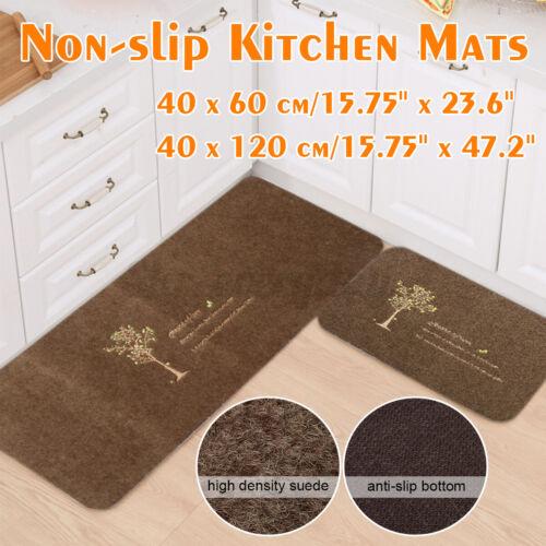 2Pcs New Non-slip Door Floor Rug Mat Kitchen Bathroom Carpet Runner Home Decor