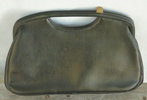 Vintage 60s Black Handbag Clutch Purse By JR Flori