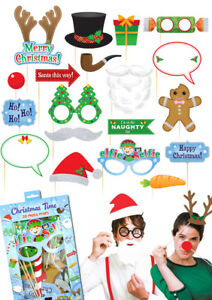 20 Navidad Cabina de Fotos Accesorios cara divertida fiesta de Navidad Año Nuevo Foto Selfie Divertido  </span>