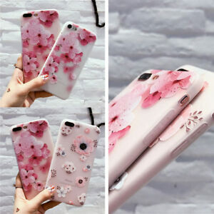 Moda-Chicas-Silicona-3D-Alivio-Pintado-Florales-TPU-Suave-Funda-iphone-Telefono