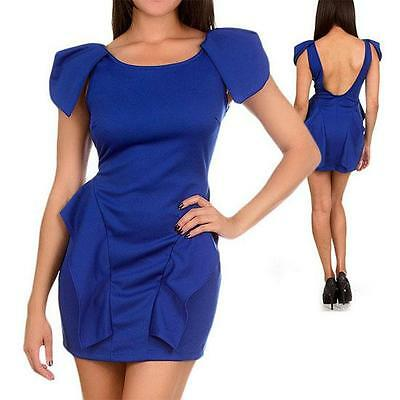 D9 -S M L Shoulder Wings Peplum Sexy Cocktail Club Mini Dress Royal Blue S M L