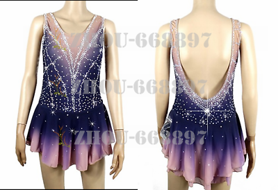 Competition Figure Skating Dress Girls Ice Skating Dress deep pink navy dying