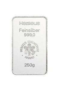 LINGOTE-DE-PLATA-250-Gramm-250g-HERAEUS-999-9-Plata-Fina-Plata-Bar