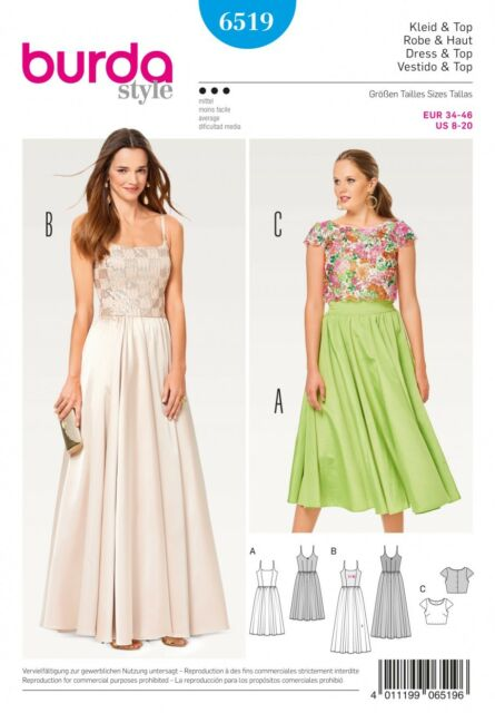 Burda Sewing Pattern Misses\' Elegant Strap Evening Prom Dress Size 8 ...