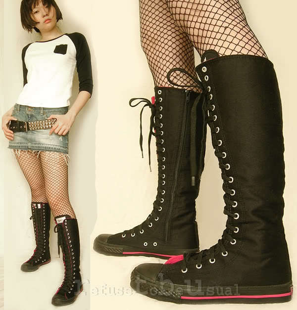 20 Hole Punk Knee Hi Top Sneaker Cotton Canvas Laceup Boot Black+Hot Pink