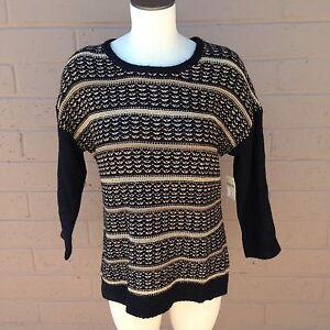 Coldwater-Creek-Black-amp-Metallic-Gold-Gilded-Stripe-Pullover-Sweater-Women-XL-16