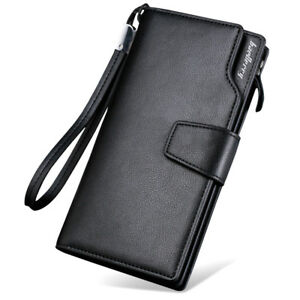 Men-039-s-Casual-Leather-Long-Wallet-Clutch-Purse-Bag-ID-Credit-Card-Holder-Billfold