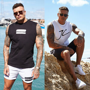 Jameson-Carter-Mens-JC-Designer-Cotton-Slim-Fit-Sleeveles-Tee-Vest-T-Shirt-Top