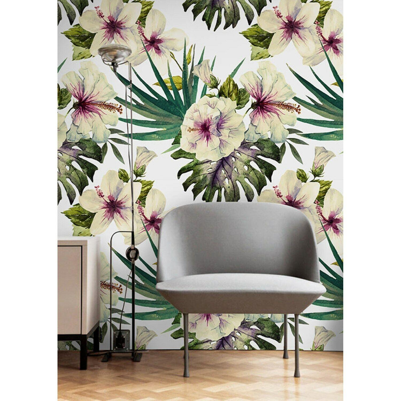 Non-Woven wallpaper Hibiscus flower Tropical Home decor Watercolor Wall Mural