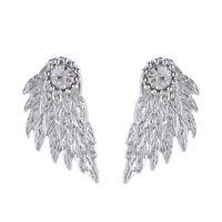 Chic Women's Punk Angel Wings Rhinestone Drop Ear Stud Earrings Jewelry Fashion