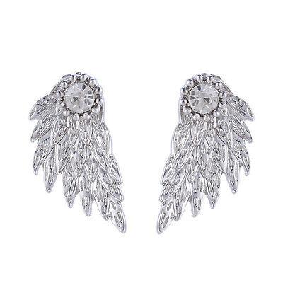 Women Angel Feather Wing Earring Rhinestone Silver Gold Hook Ear Stud Hoop Gift
