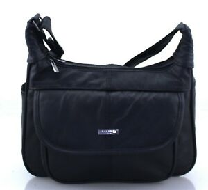 23ce89a591 Image is loading Women-Lorenz-Real-Leather-Multi-Pocket-Organiser-Shoulder-
