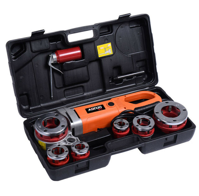 Portable Handheld 220V Electric Pipe Threader With 6 Dies Threading Machine New