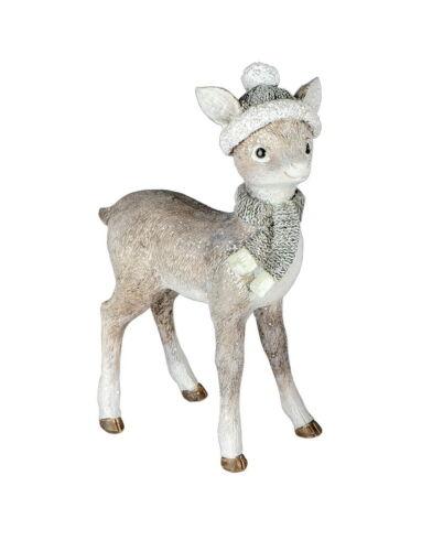 Reh Rehkitz mit Mütze Hirsch Elch Rentier Kuh Deko Garten Tier Figur Skulptur