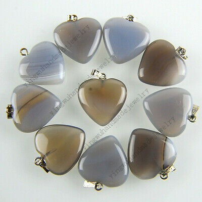 Wholesale Lot 20pcs Drop Bulk Natural Gemstone Silver Plated Beads Pendant FREE