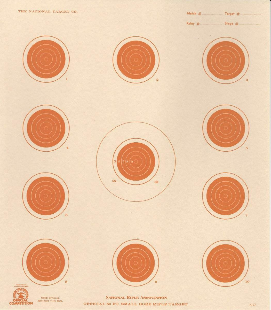 A-17 [A17] 50 Foot Smallbore Rifle Target, 4-Position (box 1,000), orange on Tag