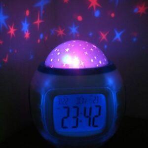 Music Starry Star Snooze Alarm Clock Kids Room Calendar Light Projector