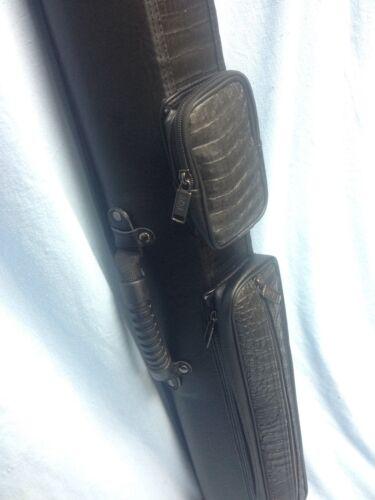 J/&J Black /& Black Crocodile Textured Leatherette Hard Pool Cue Case 3x6 C36-3
