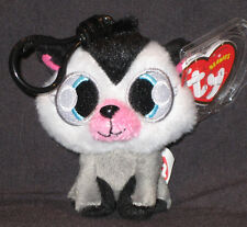 TY KEY CLIPS BEANIE BABY - WHITE FANG the MUSKY HUSKY (MOSHI MONSTER) -MINT TAGS