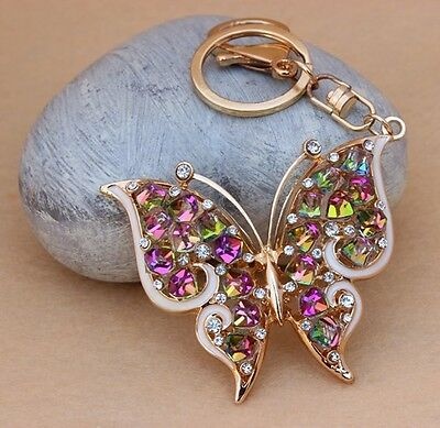 New Design Beautiful butterfly Car Keychain Crystal Purse Bag Key Chain YSK82