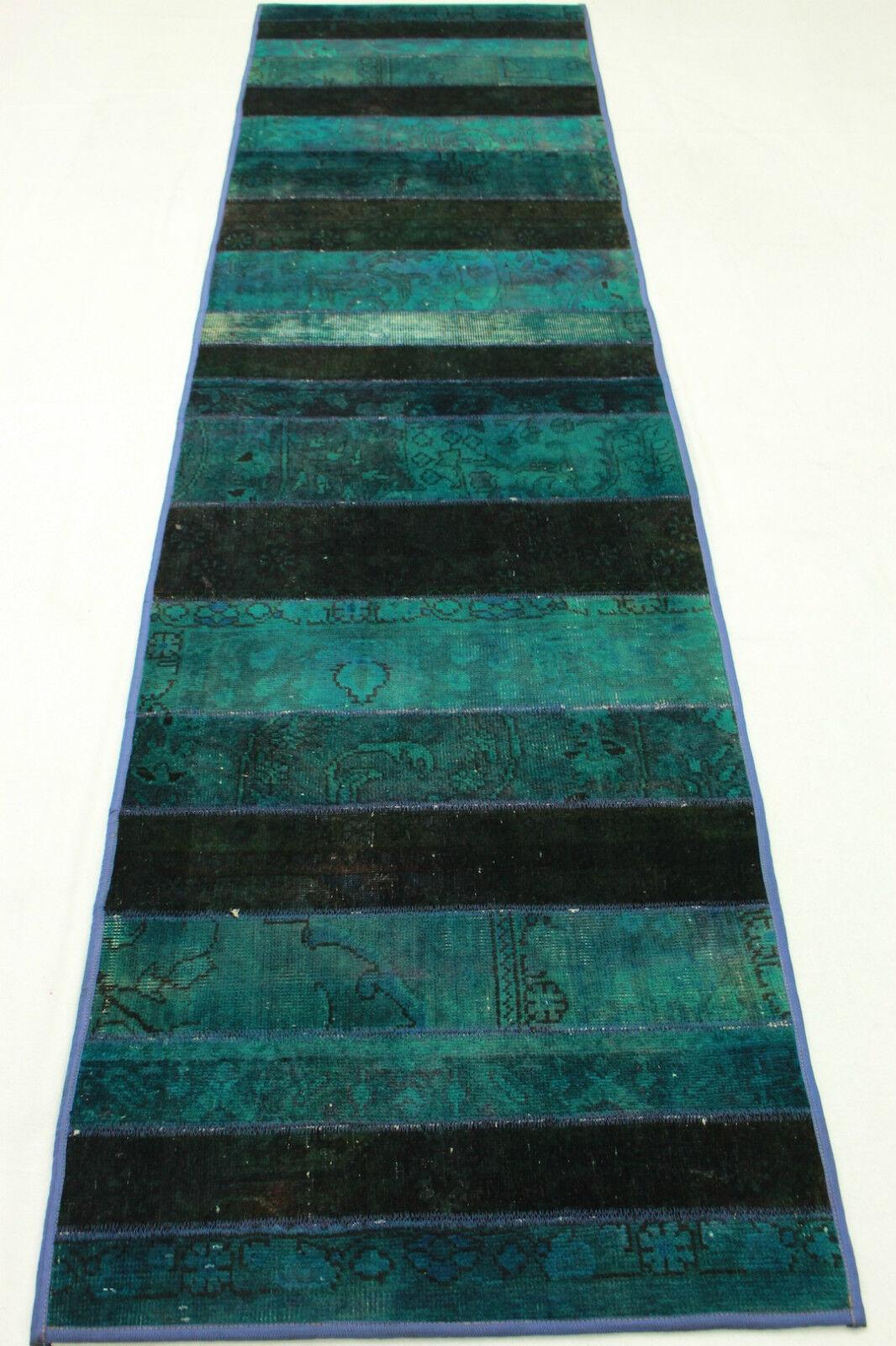 Orient alfombra patchwork alfil vintage overdyed turquesa hip 310x80 look usado 924