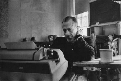 JOHN STEINBECK 5x8 PICTURE rare at typewriter PHOTO