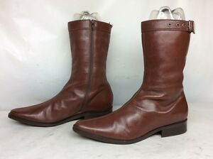 WOMENS DETAILS ENGINEER LEATHER BROWN BOOTS SIZE 8 B