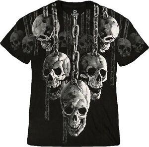 Hanging Out Skulls Chain Goth Biker Skeleton Punk Tattoo Fantasy T