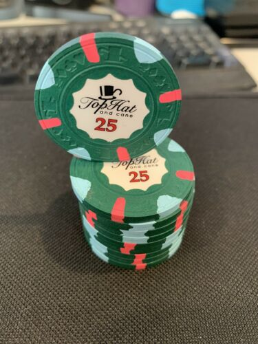 10 Classic WTHC Top Hat and Cane Paulson $25 Poker Chip Excellent Condition