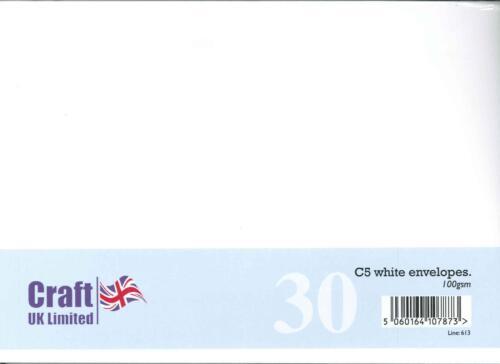 Craft del Reino Unido 30 Pack C5 Marfil Blanco Y Sobres 100 Gsm