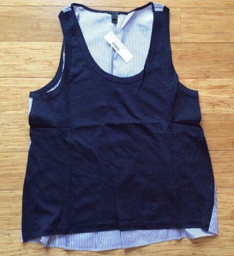 J.CREW WOMENS Stripe silk back linen tank top NWT jcrew grey Blue L