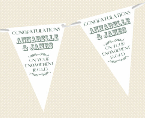 RETRO PARTY BANNER DECORATION PERSONALISED VINTAGE TEXT ENGAGEMENT BUNTING