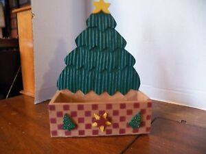 Vintage Tree Painted Wood Christmas Card Holder Caddy Plant Container Ebay