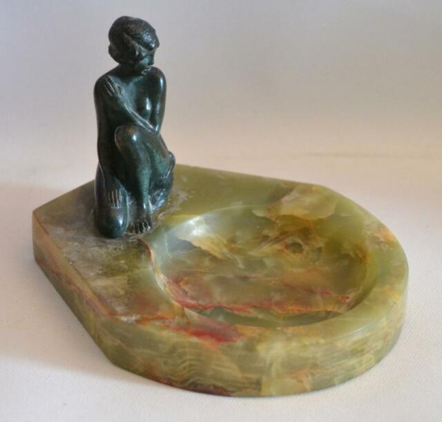 Antique 1910 Austrian Bronze Woman on Onyx Marble Base