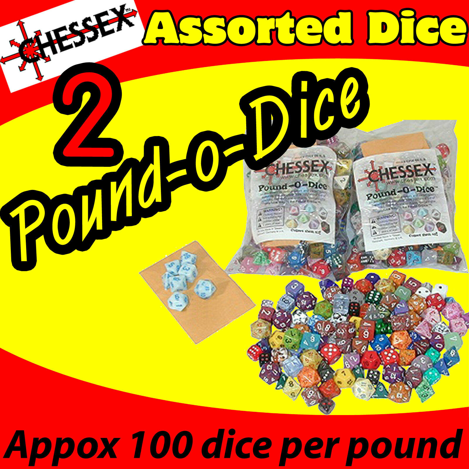 (2) POUND OF DICE BAG CHESSEX GAME ASSORTED AD&D AD&D AD&D ROLE PLAYING COLLECT CHX001LB-2 c71b52