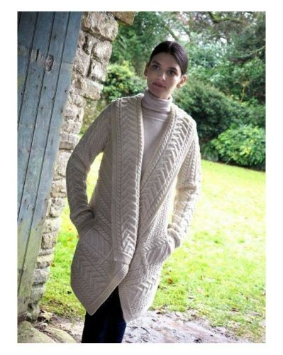 Aran Open Front Cardigan Draped Cable Knit Sweater Merino Wool S M L Xl by Arancrafts