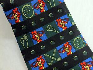 Tigger-Golf-Tie-Disney-Winnie-the-Pooh-Golfing-Necktie-Novelty-Black-Green-Blue