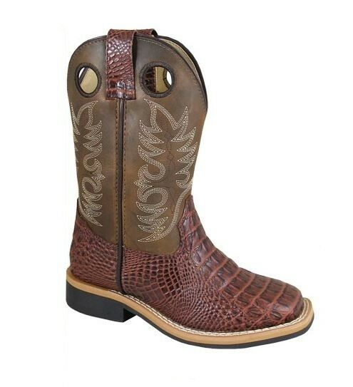 Smoky Mountain Kids  ld's Cognac Gator Style Leather Square  Toe Cowboys Boots  welcome to order