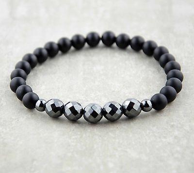 Hart Arbeitend Herren Onyx Hematit Facettierte Perlen Armband Halbedelstein Mode Fashion Black